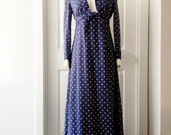 Vintage 70s polka dot navy dress/ sleeveless maxi sundress/ white bodice/ empire waist/ Bolero jacket/ summer dress/ Melissa Lane/