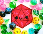 Smiling D20 Iron On Patch: Happy Dice used in Tabletop Games like Dungeons and Dragons