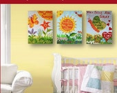 """50% OFF You are my Sunshine Set of Three 16x20"""" bright colorful handpainted acrylic paintings gallery mounted canvases for kids nursery"""