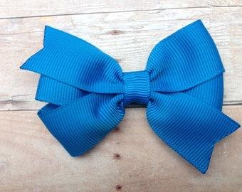 Aegean blue hair bow - blue bow