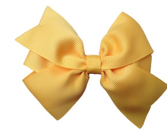 4 inch yellow gold hair bow - yellow gold bow, pinwheel bow, girls hair bows, toddler bows, girls bows, yellow hair bows, hair bows