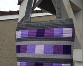 CUSTOM FOR MARIA Purple and Grey Quilted Tall Tote Bag