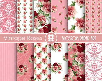 Pink Rose Digital Paper, Rose Digital Paper Pack, Pink Floral Scrapbooking, Floral Digital Paper, Vintage Roses - 1705