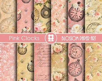 Vintage Digital Paper, Clock Digital Collage Sheet, Pink Roses Clocks Scrapbooking - INSTANT DOWNLOAD  - 1808