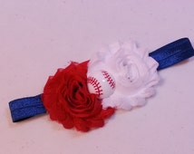 BASEBALL HEADBAND, Red and White Shabby Chic Flowers on an Blue Headband with Baseball Embellishment, Infant to Adult