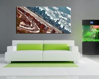 Manhattan New York , jersey view, Canvas oil printing. 70x30 inch.