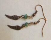 Dainty Wing with Czech Glass Bead Earrings