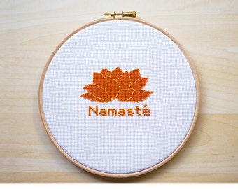Namasté -Yoga Cross Stitch embroidery pattern, Cross Stitch Pattern, Yoga Pattern, Yoga Cross Stitch, Namaste Pattern -PDF- Instant Download