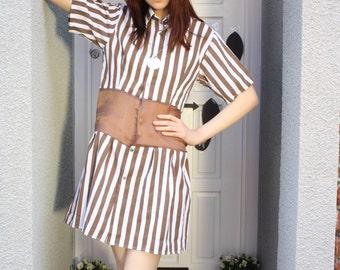 A 'Brad' Brown Stripe Shirt Dress
