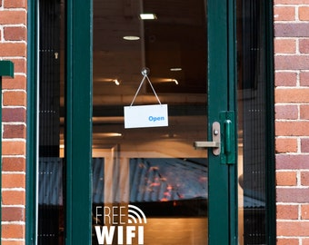 Free WiFi Sign - Wall Decal Custom Vinyl Art Stickers