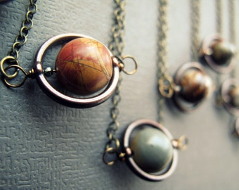 Planet Necklace - Solar System Necklace - Space Necklace - Saturn Necklace - Planet Pendant - Outer Space Jewelry- Jasper Space Pendant