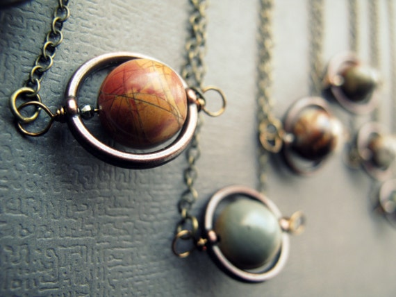 Planet Necklace Jasper Solar System Necklace Space by Chrysalism