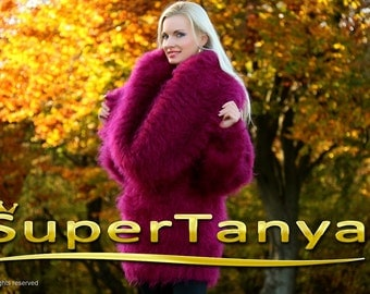 Gorgeous Purple Fuchsia Cowl Neck Hand Knitted Mohair Sweater Dress by SuperTanya