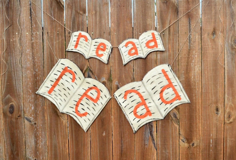 Classroom Decor Etsy ~ English teacher gift classroom decor book garland banner