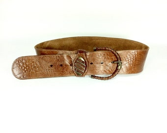 Italian Leather Belt - Medium - Brown Leather Waist Belt - Large Belt Buckle - Waist Belt