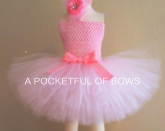 Pink Princess Tutu Dress, Pink Birthday Tutu Dress with Feather Flowers, A Pocketful of Bows