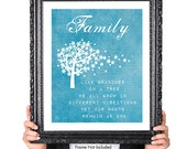 Modern Family Quote Print, Family Tree Print, Gift for Wife Husband, 50th Anniversary Gift, Graduation Gift, Moving Away Gift, Blue, 8x10