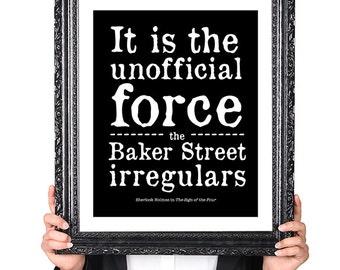 Sherlock Holmes, BAKER STREET Irregulars, Book Lover Gift, Gifts for Writers, Book Lover Art, Literary Art, Library Decor, Bookworm Art Gift