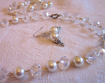 Ivory and Faceted Crystal Beads With Silver Heart Findings SET