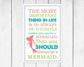Mermaid  Print - Mermaid Decor - Nautical Nursery Print - Custom size and colors Canvas Available