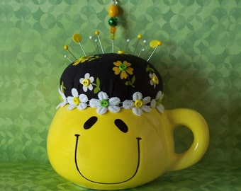 Happy Smiley Yellow Coffee Mug PinCushion