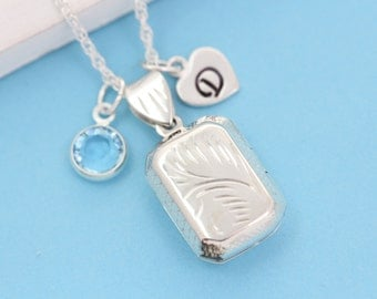 Sterling silver Locket Necklace, Rectangular Locket . Personalized  initial and birthstone , Fancy Locket  jewelry. R-26s