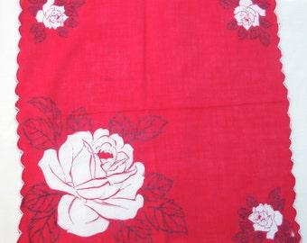 Vintage Hankie, Big Roses, Beautiful Graphics