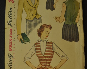 Misses' Jacket and Weskit Size 14 Vintage 1950s Mad Men era Sewing Pattern- Simplicity 3683