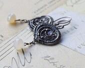 Large Sterling Silver Earrings Dangle Wired Pearl Chalcedony Earrings