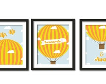 up, up and away, hot air-balloon, cloud, sky, yellow orange color, personalized name, custom name, trio set, kids wall art, nursery decor