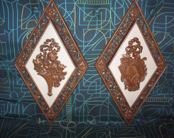2 COOL-ONIAL SYROCO Colonial Wall Hangings Mid Century Early American