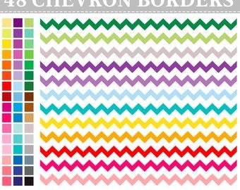 50% OFF SALE 48 Digital Rainbow Chevron Borders Clip Art ,