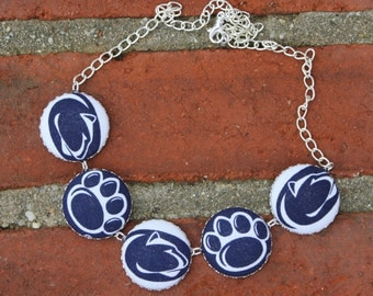 Penn State Fabric Covered Button Necklace