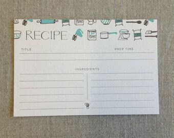 Set of 10: Letterpress Baking Recipe Cards