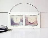 Apples and Oranges.  Polaroid Emulsion Transfers Printed on Hand Built Fired Ceramic Slab.  Fruit Still Life.