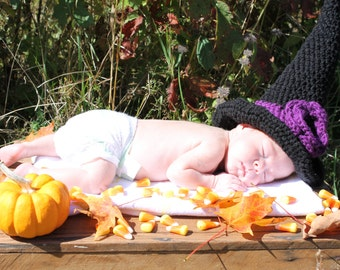 Crochet Witch Hat, Wizard Hat, Baby Witch Hat, Kids Witch Hat, Girls Witch Hat, Adult Witch Hat, Halloween Hat, Infant Witch Hat, Womans Hat