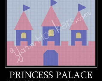 Princess Palace - Afghan Crochet Graph Pattern Chart - Instant Download