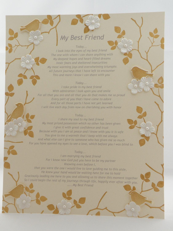 Wedding Poem Today I Will Marry My Best Friend