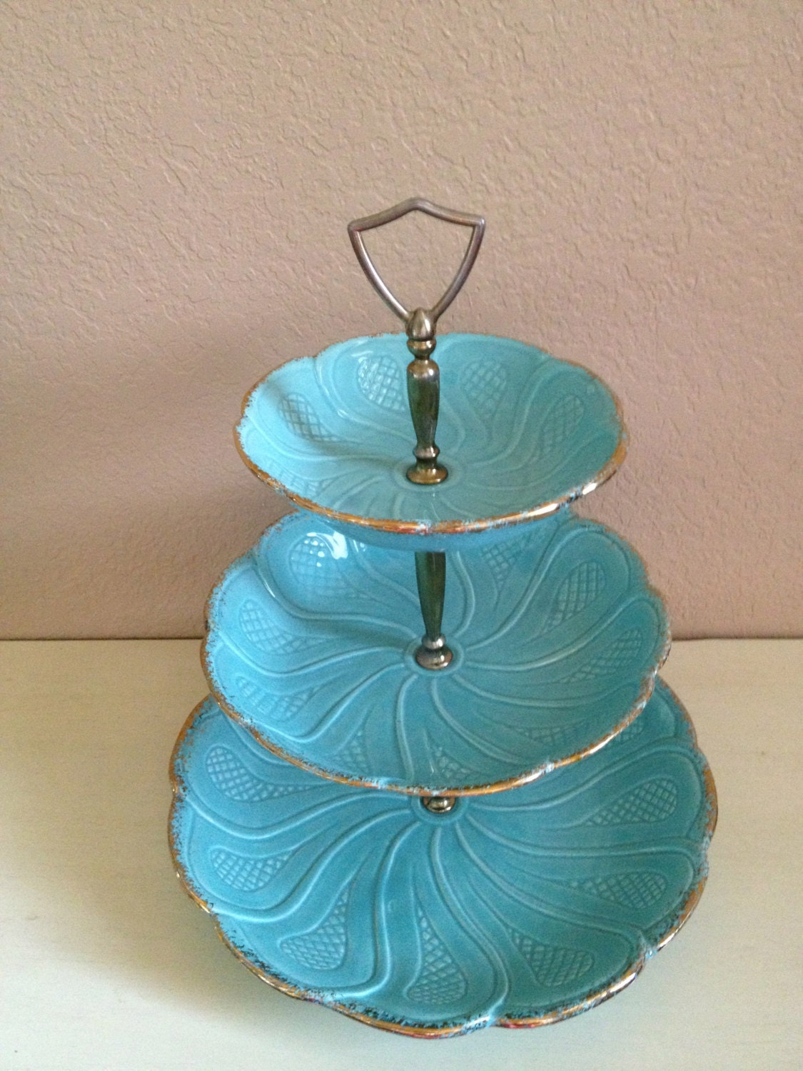 Vintage California Pottery Dessert Stand Turquoise Three Tier