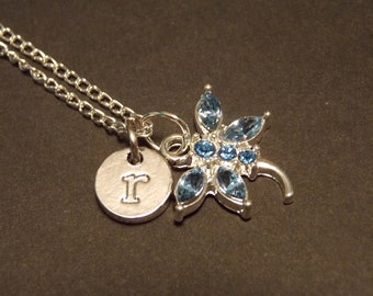 Personalized Charm Necklace- Blue and Silver Dragonfly