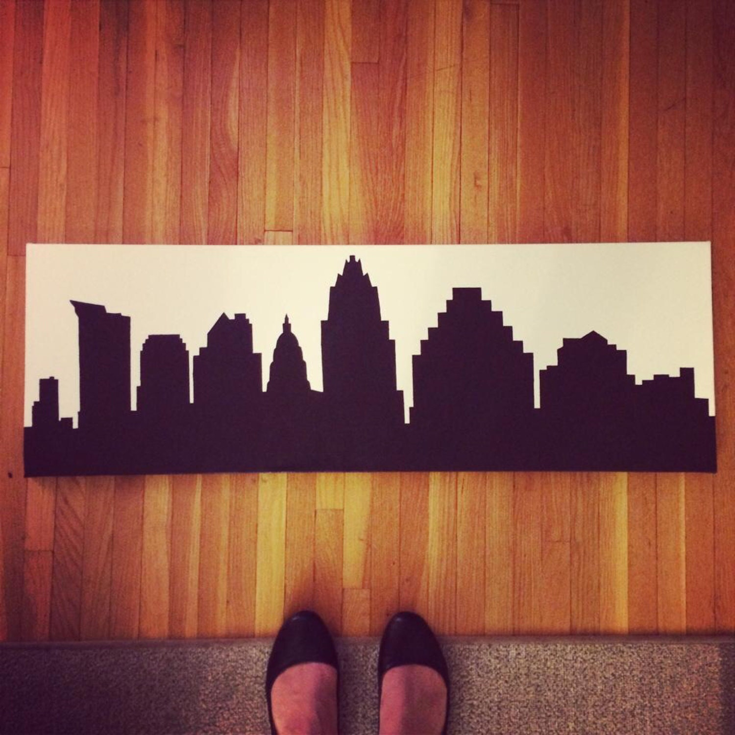 Color printing austin - Austin Tx Skyline Silhouette Painting 12 X 36 Acrylic On Canvas Custom Made Various Cities Colors And Sizes Available