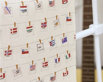 Cotton Fabric World Flags - By the Yard 49714