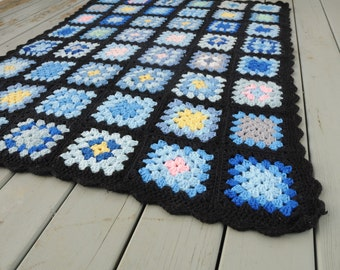 Vintage Crocheted Squares Afghan Blue Black Throw 1970s