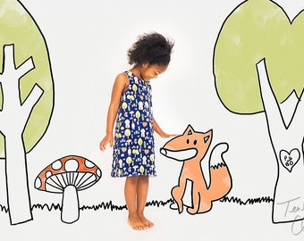 Girl dress - Woodland Gnome - Aline dress - Baby girl - Toddler girl dress - size 0-3, 3-6, 6-12, 12-18, 18-24, 2T, 3T, 4T, 5T