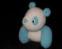 COMMANDE RESERVEE   Crochet panda bear soft toy handmade stuffed animal Peluche , ours BEBE bleu  crocheté et brodé fait main en laine