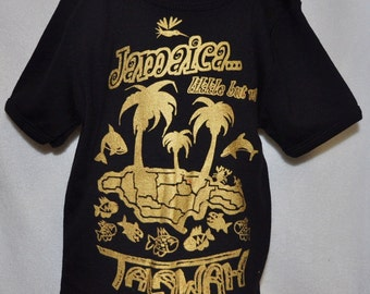 Jamaica likkle but wi Talawah T-shirt gold on black