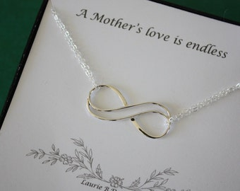 Infinity Mother Gift Sterling Silver, Mom Necklace, Endless Love, Thank You Card, Gold Necklace, Infinity Charm