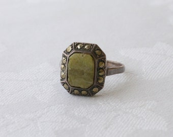 ART DECO Sterling Agate and Marcasite Ring 1920s Vintage
