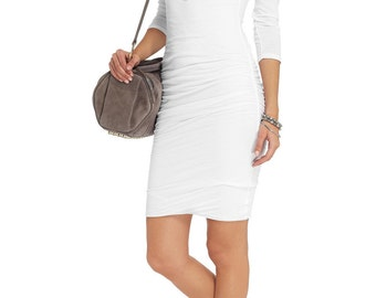 White shirred t-shirt dress.Long sleeves t-shirt dress. Formal jersey dress. Custom shirred dress.