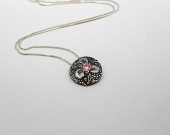 Pink Trillium Necklace, Metal Clay Necklace, Fine Silver, Pink and Silver, Cubic Zirconia